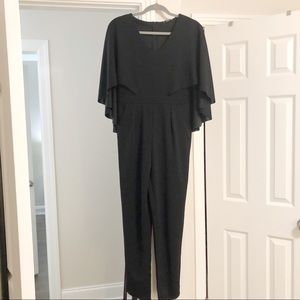SHEIN Caped Black Jumpsuit with Pockets